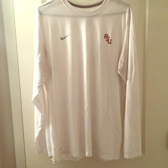 132e8526 Nike Shirts | Large White Dri Fit Long Sleeve Fsu Shirt | Poshmark